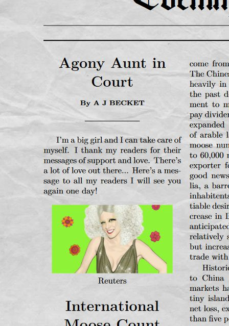 Agony Aunt in court